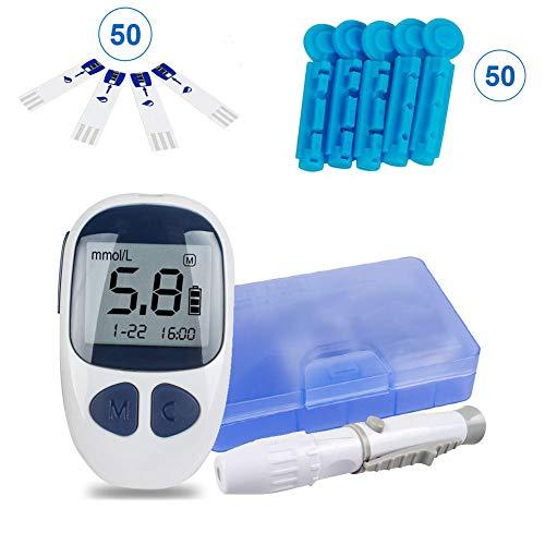 WSN Blutzuckermessgerät-Kit, Digitales handgehaltenes Blutzuckermessgerät Diabetes-Test 50 Blutteststreifen 1 Stechhilfe 50 Gauge-Lanzetten