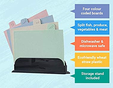 Chopping Board Set - 4 Pack Cutting Board Index Set with Storage case, eco-Friendly Wheat-Straw Plastic, Colour Coded and Dis