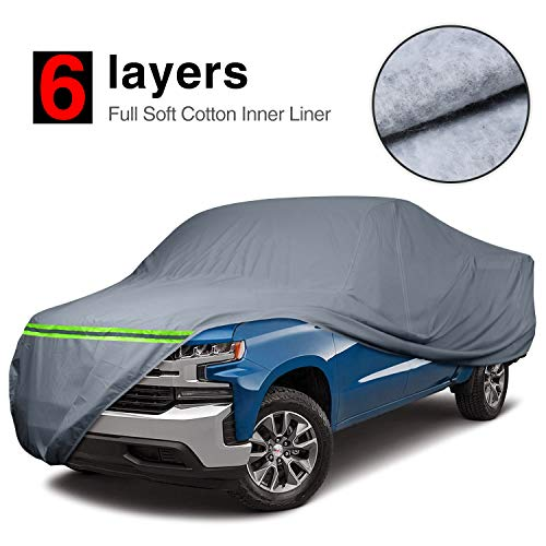 "KAKIT Waterproof Truck Cover 6 Layers Pickup Truck Cover All Weatherproof with Door Zipper for Auto Vehicle Outdoor Indoor(Fit Truck Up to 242"")"