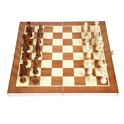 JHSHENGSHI Magnetic Chess Set Wooden Chessboard Portable Fol