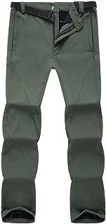 AbelWay Men's Outdoor Mountain Waterproof Windproof Fleece Ski Snow Pants Hiking Trousers