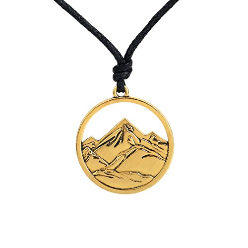 Skyrim - Collana con ciondolo a forma di neve e montagna, alla moda, stile punk e Lega, colore: Oro, cod. 43235-197521