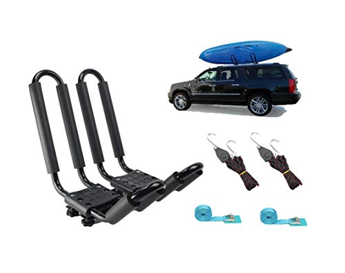 Mrhardware A01 Kayak Roof Rack for SUV Car Top Roof Mount Carrier J Cross Bar Canoe Boat (1 Pairs)