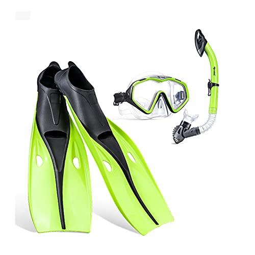 QZH Juego de Snorkel, Equipo Profesional de Snorkel Gafas de natación Tubo de respiración Aleta de Buceo Ajustable Niños Adultos Natación Aletas de Comodidad Aletas,Verde,M