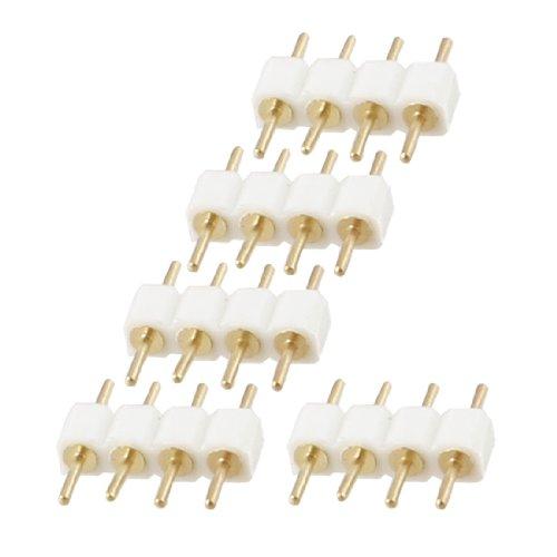 Sourcingmap mâle à mâle 4 Broches RGB Câble Connecteur Blanc pour LED Bandes - Blanc, 5pcs