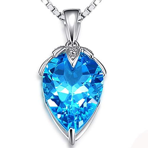 Epinki Oro de 18 Quilates Collar Fresa Forma Colgante Mujeres Collar de Diamantees Plata-13ct con 0.13ct Azul Topas