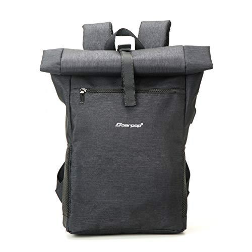 Soarpop Laptop Rucksack Roll Top Wasserabweisend Freizeitrucksack Schultasche mit USB-Ladebuchse Laptopfach 17,3 Zoll
