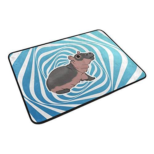 EU Funny Doormat Baby Hippo Door Mat- Welcome Entrance Rug Shoe Scraper for Indoor Outdoor Home, 23.6x15.7 Rubber Back