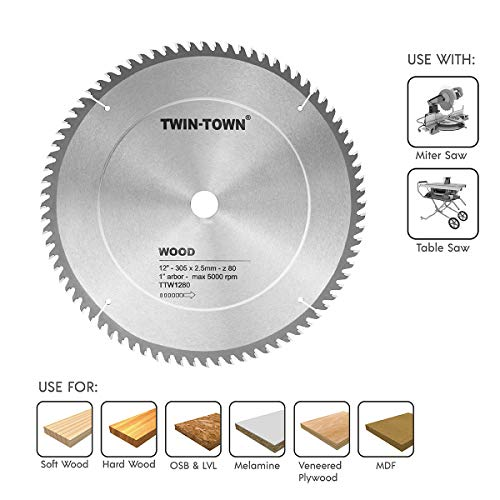 TWIN-TOWN 12-Inch Saw Blade, 80 Teeth,General Purpose for Soft Wood, Hard...