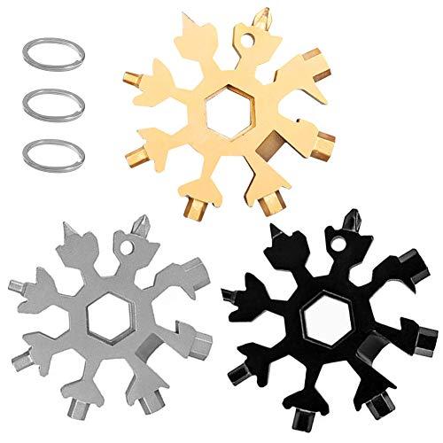 Herramienta multifunción de copo de nieve 18 en 1, herramienta portátil de acero inoxidable, destornillador para acampar al aire libre, abridor de botellas (3 piezas de negro, gris, dorado)