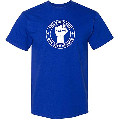 Premium Cotton T-Shirt Gift for Chelsea Fans: The Shed End One Step Beyond (L, Blue)
