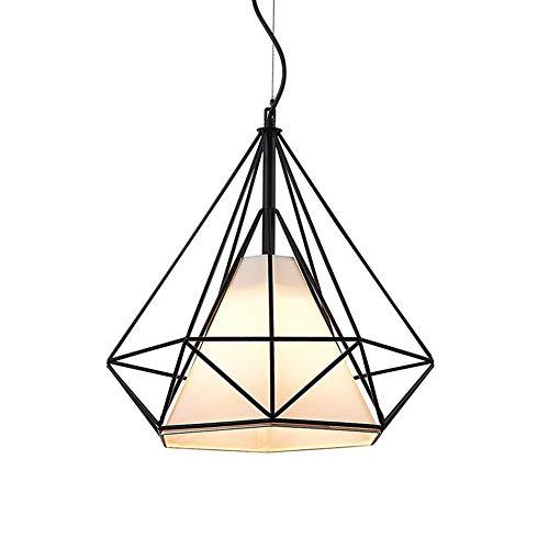 Tobaling Lustre Suspension E27 Cage en Fer Forme Diamant avec Douille Eclairage pour Décor Restaurant Salle Chambre (NOIR, S<25CM>)