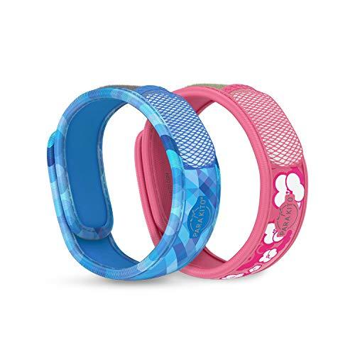 PARA'KITO Mosquito Repellent Bonus Pack - 2 Wristbands   2 Refills (Deep Blue + Sakura)