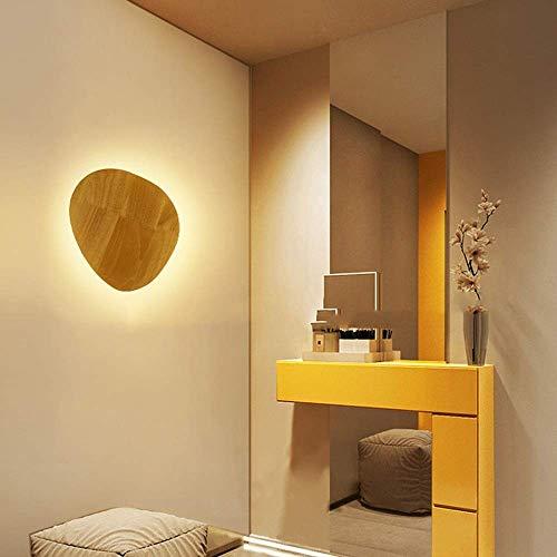 Lámpara de pared Marrón Luz cálida Nordic Simple Restaurante Dormitorio Estudio Lámpara de pared con forma de fondo Personalidad Pared Pasillo Pasillo Lámpara de pared de madera maciza 25 * 21 (cm)