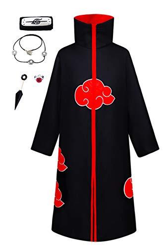 KuKiee Unisex Long Ninja Robe Akatsuki Cloak Halloween Cosplay Costume Uniform (Small, Stand Collar Cloak with Accessories)