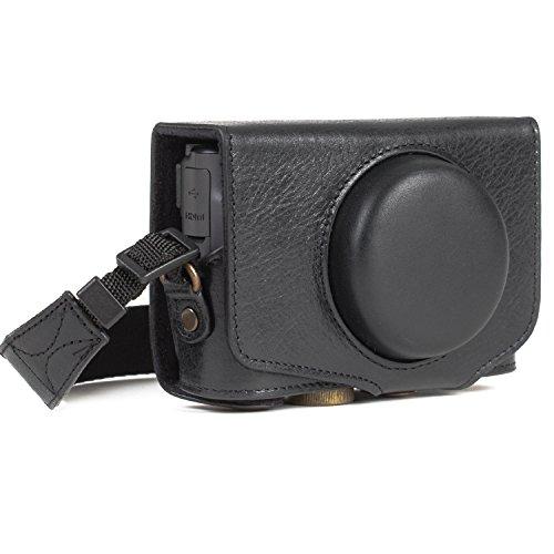 MegaGear MG1176 Canon PowerShot SX740 HS, SX730 HS Ever Ready, Estuche, Funda de Pronto Uso de Cuero auténtico, con Correa, Negro