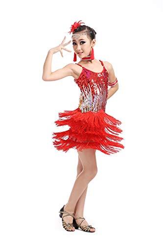 Jonact Vestito Latino da Ballo per Ragazze - Nappa Paillettes Costume da Ballo Senza Maniche per Rumba Tango Sala da Ballo