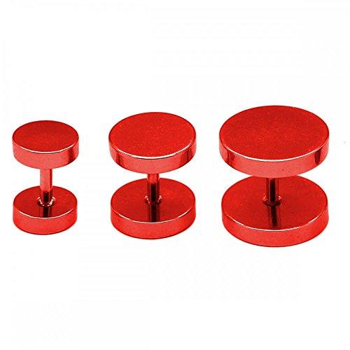 SoulCats® 2 falsos dilatadores para hombre, color negro y plata, tamaño: 6 mm, color: rojo