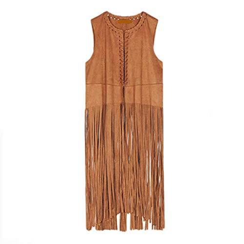 MINIKIMI dames faux suède etnisch mouwloos met franjes vest Cardigan lichtgewicht gebreide jas blouse outdoor sweatjas