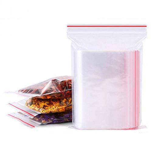 XIASHI 100 bolsas de almacenamiento resellables pequeñas con cierre de cremallera, bolsas de plástico transparentes para alimentos, bolsa de almacenamiento al vacío, 9 x 13 cm