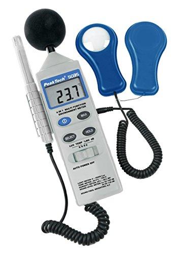 Peak Tech P 5035 – 4 in 1 Multifunktions Umweltmessgerät zur Messung von Schall, Temperatur, Luftfeuchtigkeit und Lux, Messer, Db Messung, LCD Anzeige, Typ K Sensor, batteriebetrieben - 250G