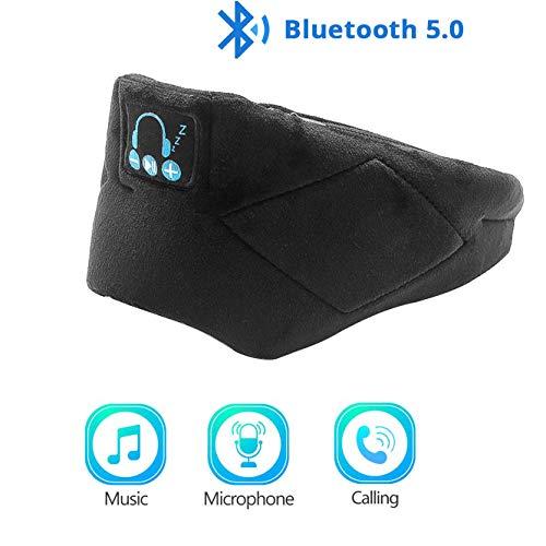 Huanxin Bluetooth Schlafmaske, Bluetooth 5.0 Schlaf-Kopfhörer Mit Gutem Komfort Waschbar Augenmaske Ton Blocking/Noise-Cancelling-Freisprecheinrichtung Anrufe,Schwarz
