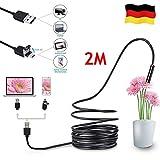 FullBerg 2M USB Endoskop 5,5mm mit 6 LEDs Und 2 Meter Schlange Kabel, Wasserdicht Boreskop...