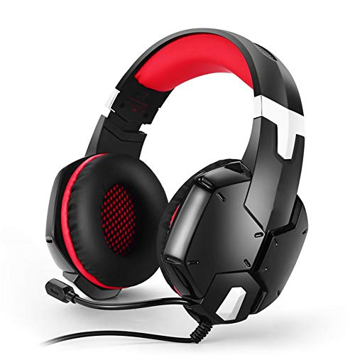 HBOY Headset Esports Gaming Headset, Computer Cool Anti-Noise PS4 Headset met Omnidirectionele Microfoon, Volume Controle voor Computer Laptop Mac Playstation 4, size, Rood