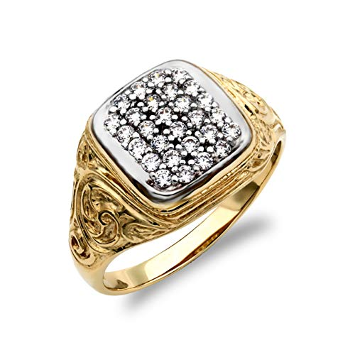 Jewelco London Men's Solid 9ct Yellow and White Gold White Round Brilliant Cubic Zirconia Pave Cushion Cluster Carved Signet Ring, Size Z