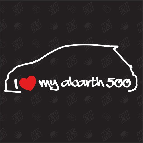 speedwerk-motorwear I Love My 500 Abarth - Sticker für FIAT ab Bj.15, Model 595