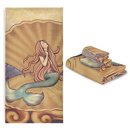 YUELAI Serviette de Bain absorbante Ultra Douce en Coton Ensemble Douche Main Gant de Toilette, Conte de fées Princesse sirène de Fruits de mer