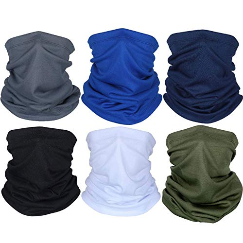 FengleMa 6 Pieces Summer Face Mask UV Protection Neck Gaiter Scarf Sunscreen Breathable Bandana (Black, Dark Grey, Royal Blue, Army Green, Navy Blue, White)