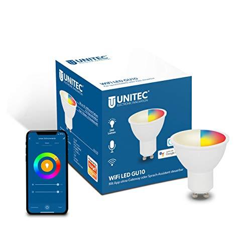 UNITEC WIFI LED Glühbirne GU10 CCT RGB, dimmbare WLAN Lampe, Farbwechsel, Kalt-/Warm-/Neutralweiß, mit Timer und Zeitschaltuhr