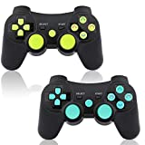 PS3 Controller 2 Pack Wireless 6-axis Double Shock Gaming Controller for Sony Playstation 3 with Charging Cord (Blue&Green)