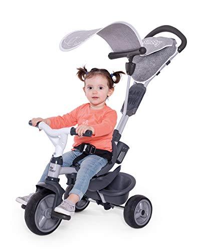 Smoby - Baby Driver Komfort Titan - 3-in-1 Kinder Dreirad, mitwachsendes Multifunktionsfahrzeug, für Kinder ab 10 Monaten, grau
