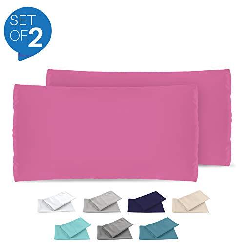 Dreamzie - 2er Set Kissenbezug 40x80 - Bezüge Rosa - Kissenbezüge Mikrofaser (100% Polyester) - Kopfkissenbezug sehr Weich