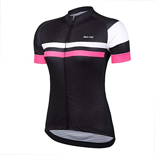 Beory Womens Cycling Jerseys with Short Sleeves,Girls Bike Short Sleeves with Three Pockets(L Black)