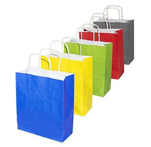 goodsforbusiness GmbH - 50 x Papiertüten 22 x 10 x 28,5 cm Kordelgriff in der Farbe Grün | Papiertragetaschen 90g/qm Kraftpapier Tragetaschen stabil