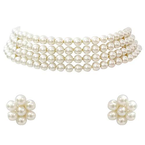 Aheli Gargantilla de perlas blancas con pendientes de tuerca para mujeres y niñas, juego de joyería tradicional indio Bollywood