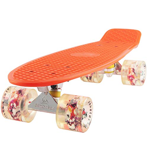 Meketec Skateboard Orange 22 inch Retro Mini Skateboards Grandson Board for Boys Girl Youth Beginners Children Toddler Teenagers Adults 5 to 8 Year Old (Orange)