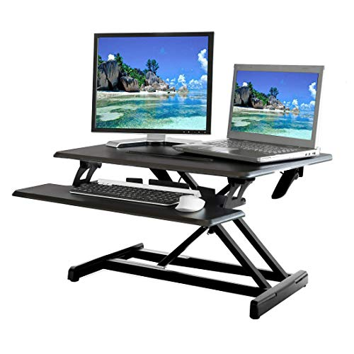 """Seville Classics AIRLIFT WEB599 Height Adjustable Compact 30"""" Standing Desk Converter Workstation - Removable Keyboard Tray, Black"""