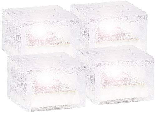 Lunartec LED Glassteine: Solar-LED-Glasbaustein mit Lichtsensor 4er-Set klein (7x7 cm) (Rasengittersteine Beleuchtung)