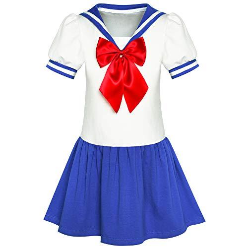 Sunny Fashion Vestito Bambina Marinaio Luna Uniforme Scolastica Marina Militare Completo da Uomo 8 Anni