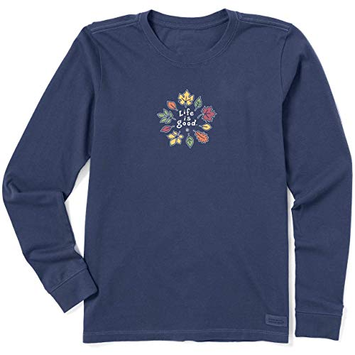 Life is Good Women's Crusher Graphic Long Sleeve T-Shirt, Leaves, Darkest Blue, Large
