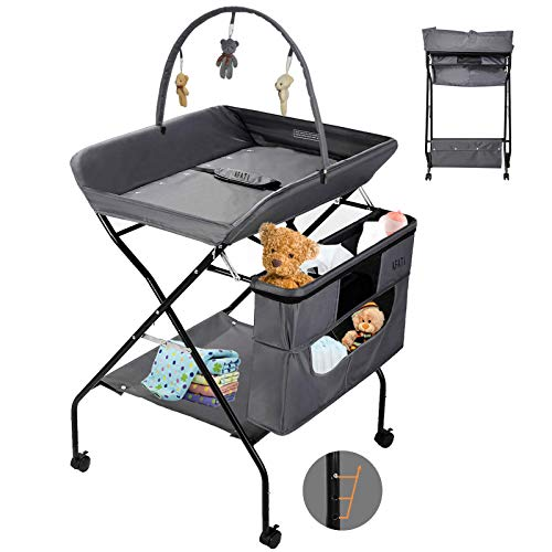Baby Changing Table with Wheels, Grey Adjustable Height Folding Infant Diaper Station Portable Mobile Nursery Organizer,Lockable Wheels, Portable Infant Newborn Change Table