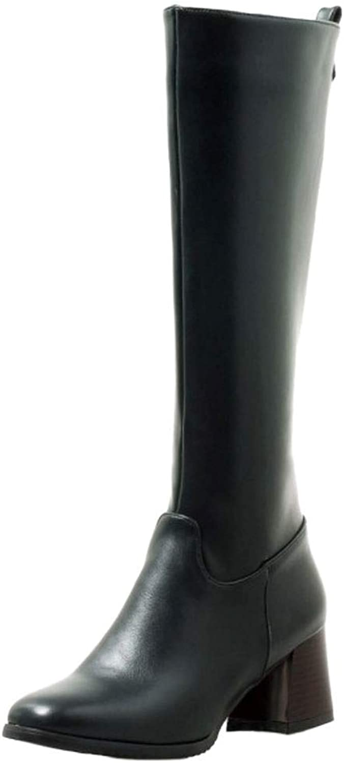 Unm Women Block Heel Long Boots Zip
