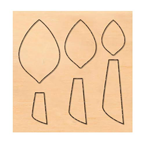 PandaHall Molde de madera para recortes de recortes en relieve, molde de corte de piel, forma de tira/hoja para pendientes, joyas, bricolaje, artesanía de cuero
