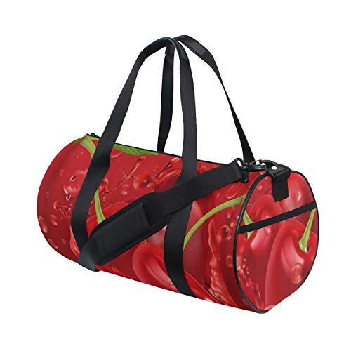 ZOMOY Gym Bag,Bright Red Cherries Cherry Juice,New Canvas Print Bucket Sports Bag Fitness Bags Travel Duffel Luggage Canvas Handbag