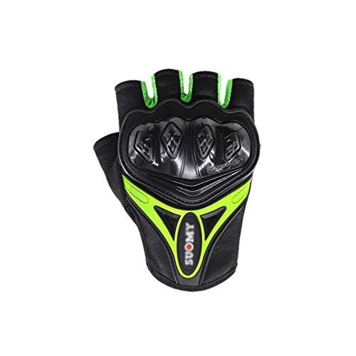 Yuanu Motorradhandschuhe Fingerlose Handschuhe Leicht Atmungsaktiv & rutschfest Schutzhandschuhe Schmutz Radfahren Rennen Handschuhe Fingerlos Herren Draussen Sportausrüstung Für Männer Grün XL