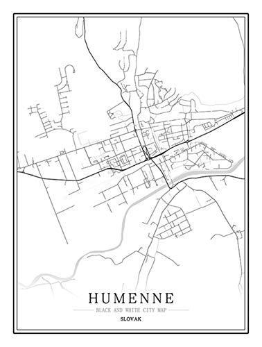 Bild auf Leinwand Albanien Pogradeci Stadtkarte Bilder Leinwandbild Schwarz Weiß leinwandbilder Bilder mit Rahmen Foto auf Leinwand Moderne Poster Wandkunst für Wohnzimm Schlafzimmer 50x70cm